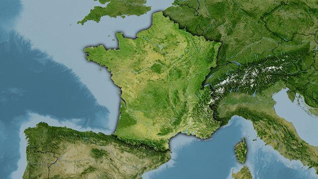France, satellite B - dark glow