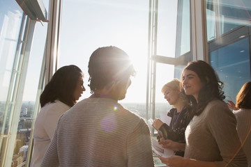 Business people talking at sunny office window