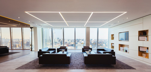 Sofas in modern urban highrise office lounge