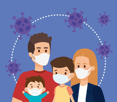 parents with children using face mask and particles covid 19 vector illustration design