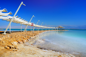 Foto auf Leinwand Dunkelblau Dead Sea and Ein Bokek Resort in Israel