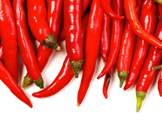 Foto auf Gartenposter Hot Chili Peppers red hot chili peppers, isolated on white
