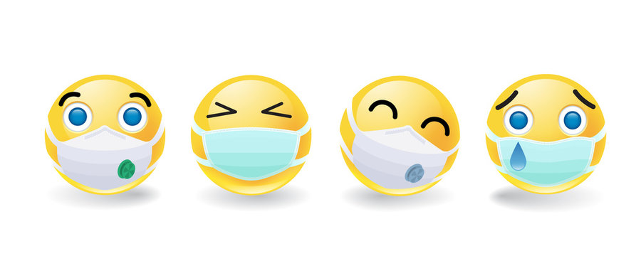 Set of four smileys or emoticons in masks conceptual of the coronavirus or Covid-19 pandemic over white with drop shadows, colored vector illustration