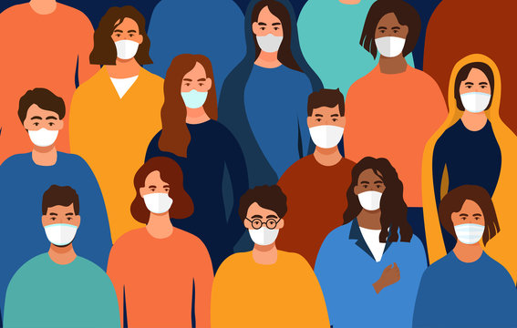 Colorful background of a group of diverse people wearing face masks during the Covid-19 pandemic facing towards the viewer, colored vector illustration