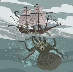 sea octopus monster kraken attacking a ship