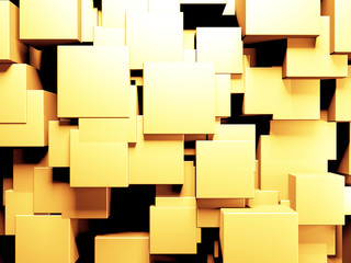 Luxury golden background. Gold glossy cubes array Fotoväggar