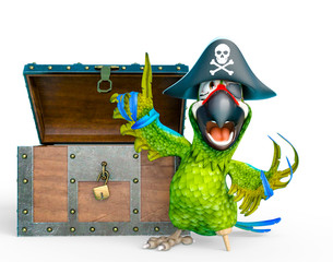 parrot pirate is talking in front of a treasure chest