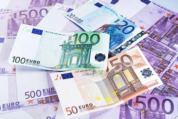 20, 50, 100, and 500 Euro Bills
