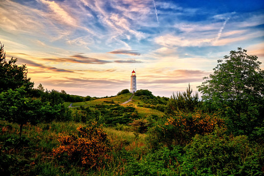 lighthouse Dornbusch on isle of Hiddensee in the baltic sea