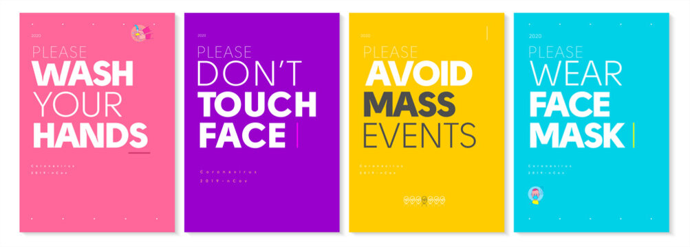 COVID-19. Set of vector posters. Wash your hands, Do not touch your face, avoid mass events, Wear face mask.