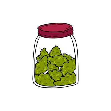 jar with marijuana buds doodle icon