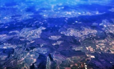 Foto auf AluDibond Dunkelblau Tilt-shift Image Of Patchwork Landscape