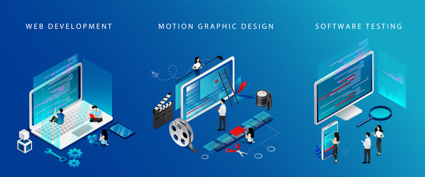 Isometric 3D Web Development, Video Edit And Software Testing Concept. Tiny Characters Work On Laptops Test Software, Edit Video And Develop New Web Technologies. 3D Cartoon Vector Illustrations Set
