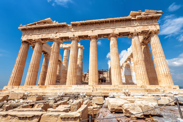 Fototapete - Parthenon on Acropolis, Athens, Greece, it is main tourist attraction of Athens. Ancient Greek architecture of Athens in summer.
