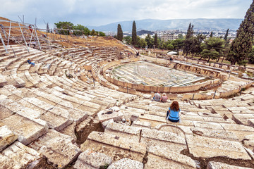 Fototapete - Theatre of Dionysus at the foot of Acropolis, Athens, Greece, it is famous tourist attraction in Athens, monument of classic Athenian culture