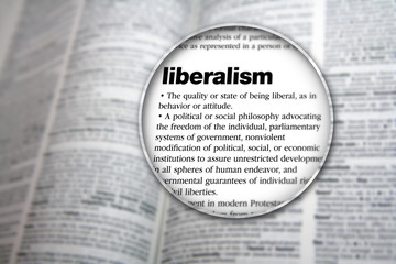 An illustrative concept design to explain the word 'Liberalism'.