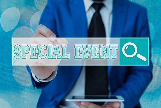 Word writing text Special Event. Business photo showcasing Function to generate money for non profit a Crowded Occassion