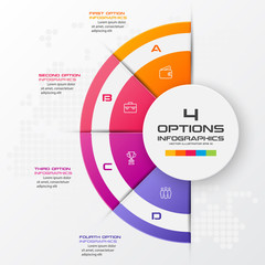 Half business circle infographics 4 steps,Abstract design element,Vector illustration.