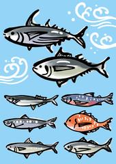 お魚の墨絵