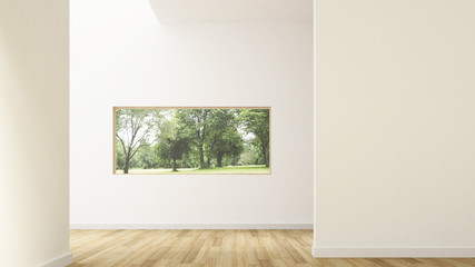 Wall Mural - The interior minimal Empty space 3d rendering and nature view background