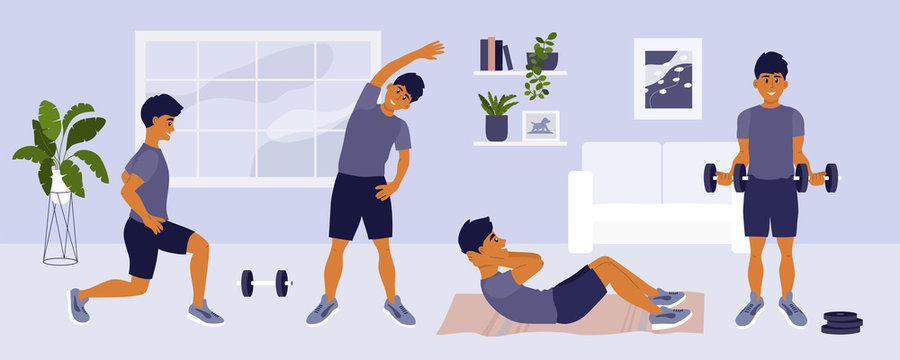 Stay home keep fit. Man doing different sport exercises, lunges, side bends, abdominal crunches, working with dumbbells. Physical activity, healthy lifestyle, workout. Gym at home vector illustration.