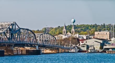 Downtown Sturgeon Bay and  the Michigan Street Bridge, Sturgeon Bay, Wisconsin, USA