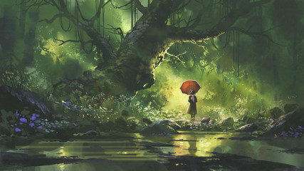 mysterious woman with umbrella standing in forest, digital art style, illustration painting