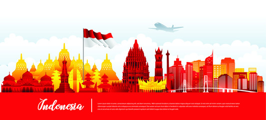 Vector design Ilustration of Indonesia landmark and flag. Indonesia garden theme and travel concept. Wall mural