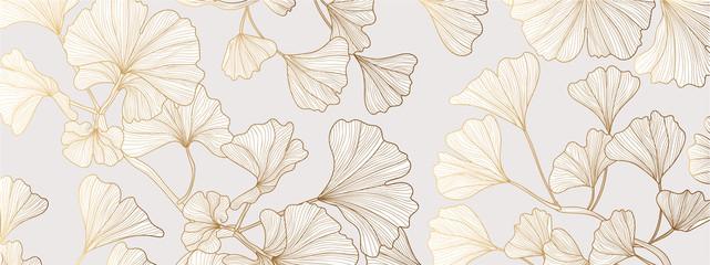 Luxury Gold Ginkgo line arts Background design vector.