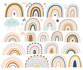 Fototapete - Decorative abstract art collection with modern rainbows. Hand-drawn modern illustration. Baby trendy decorative collection