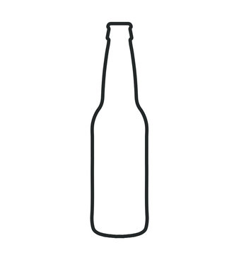 glass beer bottle icon shape symbol. Vector illustration image.  Isolated on white background.