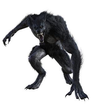 Werewolf isolated on white, 3d render.