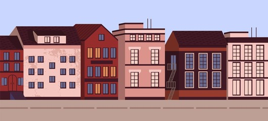 Fototapete - Colorful horizontal cityscape banner vector flat illustration. Modern urban architecture landscape city view. Street of town with living houses exterior. Facade of residence building with windows