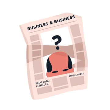 Crumpled newspaper with articles about business vector flat illustration