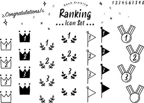ランキング,アイコン,セット,ベクター,順位,ランク,王冠,クラウン,月桂樹,旗,フラッグ,メダル,手書き,手描き,デザイン,チョーク,クレヨン,グラフィック,フレーム,ロゴ,マーク,冠,順番,数字,装飾,パーツ,かわいい,おしゃれ,カフェ,スタイリッシュ,賞,優勝,1位,2位,3位,コンテスト,アワード,モノクロ,白黒,ビジネス,ナンバー,記録,ベスト,試合,競技,シンボル,イラスト,サイン