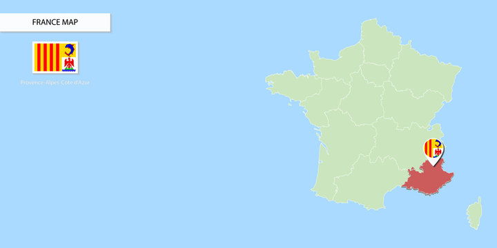 France map illustration of Provence-Alpes-Côte d'Azur (PACA) Region on light blue background ( Google map style).