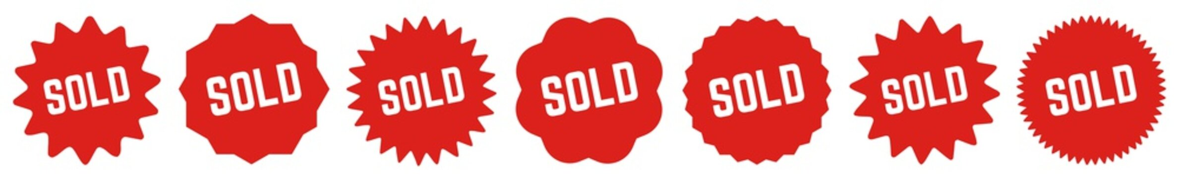 Sold Tag Red   Icon   Sticker   Deal Label   Variations