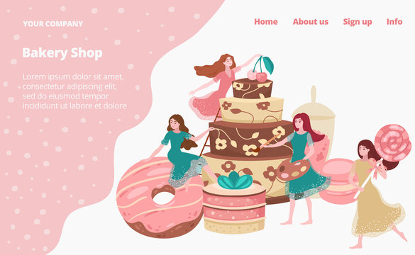 Bakery shop landing page with baked goods, cakes, donuts and pastries, cafe store tiny young girls vector flat template illustration. Sweets, celebration cakes with cream and baking house website.