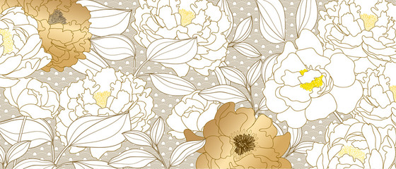 Luxury Gold Floral line arts background vector.  bouquet rose and leaves wallpaper design for fabric, wrapping , cover, beauty and cosmetic packaging background pattern. Vector illustration.