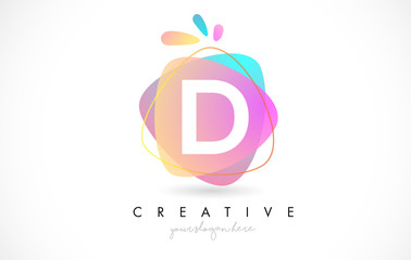 D Letter Logo Design with Vibrant Colorful Splash rounded shapes. Pink and Blue Orange abstract Design Letter Icon Vector.