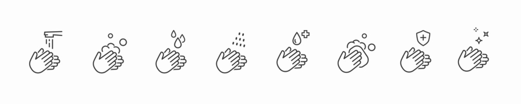 Icon set of disease prevention protect. Vector sanitizer, antiseptic, antibacterial symbols. Healthcare wash hands with rinse water, tap, soap drop and safety signs