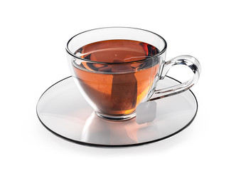 Cup of tea isolated on white background. Glass cup with teabag.  Black, brown hot tea.