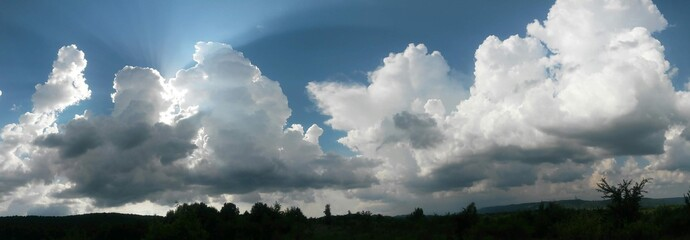 stormy clouds over green forest in summer season