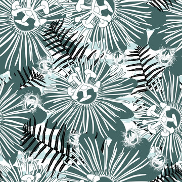 Vector green mint passion flower and ostrich fern seamless repeat pattern. Suitable for fabric, wallpaper and gift wrap.