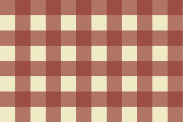 Vector illustration of terracotta gingham seamless pattern on a sand color background