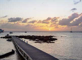 Sunset at the coast of George Town, Grand Cayman, Cayman Islands