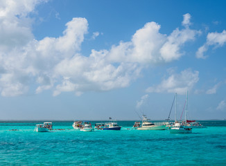 Boats at Stingray City, Grand Cayman, Cayman Islands