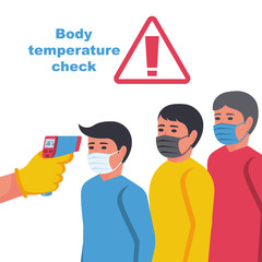 People in line to check body temperature. Visiting public areas. Doctor in hazmat holding non-contact thermometer in hand. Mask on face, person in control. Prevention coronavirus covid-19. Vector flat