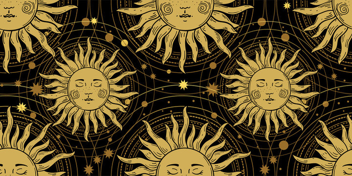 Seamless pattern with the golden sun on a black background, galaxies and stars. Mystical ornament in the old vintage style. Vector illustration