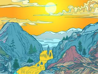 mountains sun river mountain resort or natural Park